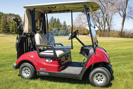 The Golf Cart Divider in use